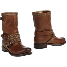 Frye Ankle Boots ($145) ❤ liked on Polyvore featuring shoes, boots, ankle booties, brown, studded ankle boots, brown leather bootie, short boots, leather bootie and buckle ankle boots