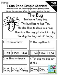 I Can Read Simple Stories with CVC word families Read the story highlight the word family words and complete the simple sentences Great activity for building confidence f. Phonics Reading, Reading Worksheets, Kindergarten Reading, Teaching Reading, Phonics Worksheets, Reading Comprehension Passages, Reading Strategies, Reading Skills, Comprehension Strategies