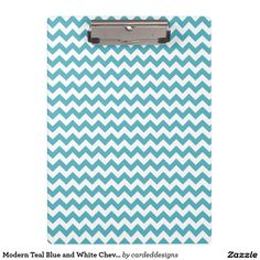 Modern Teal Blue and White Chevron Clipboards