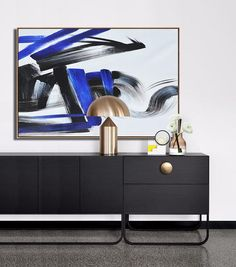 CZ Art Design - Hand painted Blue minimal art, horizontal canvas painting.