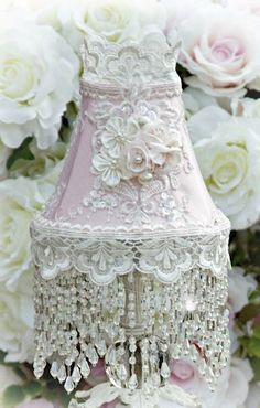 Roses and Pearls Small Beaded Victorian Lampshade