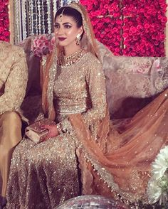 Orange & Beige Pakistani Bridal Dress | Stunning Glitter Embroidery Work |Designed by Faraz Manan | InstaPic