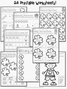 St. Patrick's Day Math and Literacy Centers with Printable Worksheets