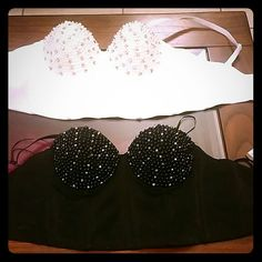 Rave bras Black and white rave bras. Dimonds and pearls on cups lovej Intimates & Sleepwear Bras