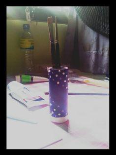 Purple Blue creation of a brush holder.