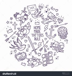 Old school tattoo elements. Cartoon vector tattoos in funny style: anchor, dagger, skull, flower, star, heart, diamond, scull and swallow