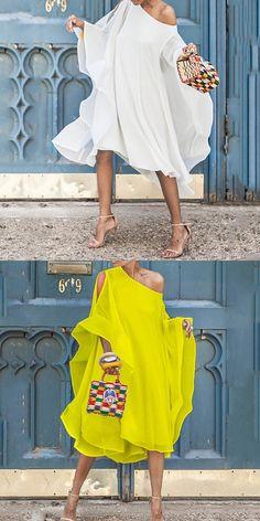Chiffon Off-The-Shoulder Sleeve Casual Dress Fashion Now, Curvy Girl Fashion, Fashion Dresses, Simple Dresses, Short Dresses, Summer Dresses, Chiffon Dress Long, Look Chic, African Fashion