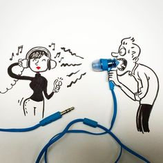 I said: HOW DO YOU LIKE THE HEADPHONES? #megaphone #illustration #drawing #doodles #doodle #music #thekeytosetyourselffree #earphone #shoutout #and_draw_something #idea_in_picture #photo #picoftheday #instaart #art #mannekestekenen #character #blue #communication #boymeetsgirl #alwaystrouble Funny Sketches, Funny Drawings, Cartoon Sketches, Art Drawings Sketches, 3d Illusion Drawing, Freetime Activities, Funny Doodles, Found Object Art, Creative Artwork
