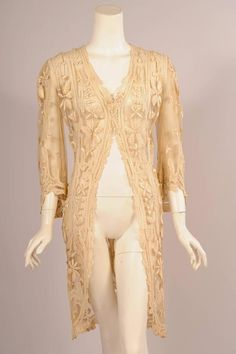 Edwardian Tulle and Tape Lace Jacket with Hand Embroidery
