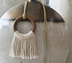 Fringe Tassel Organic Cotton Necklace and Oak Wood by RanranDesign
