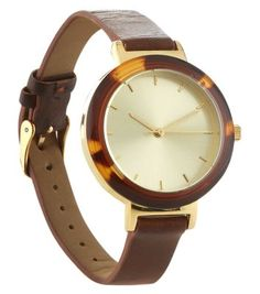 Brown Tortoiseshell Leather-Look Strap Watch