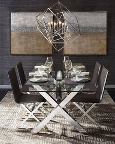 Mirror Monday: Dining Room Reflects An Exquisite Sense Of Style With Our  Omni Mirror + Chandelier. Also Features Our Dining Furniture And Tableware!