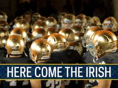"Here come the Irish of Notre Dame!! Like the Irish? Be sure to check out and ""LIKE"" my Facebook Page https://www.facebook.com/HereComestheIrish Please be sure to upload and share any personal pictures of your Notre Dame experience with your fellow Irish fans!"