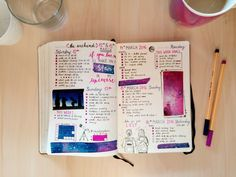 """journalsanctuary:   """"Let's go get lost…""""   Q: How many space themed pictures can I stuff onto one bullet journal page? A: Every single one of them.   I love space themed stuff so much!  (if you can't tell…)  anyways, this week has been very productive so far, excluding yesterday evening as I got sick  and even had to stay home today, but at least I can do more stuff now as I'm feeling better. Hope you're all having a great day!"""