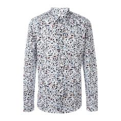 PAUL SMITH 'Hand Drawn Spot' Long Sleeved Shirt ($183) ❤ liked on Polyvore featuring men's fashion, men's clothing, men's shirts, men's casual shirts, men, multi, mens longsleeve shirts, paul smith mens shirt, mens cotton shirts and mens spotty shirt