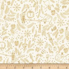 Michael Miller Nutcracker Metallic Mini Overture Cream from @fabricdotcom  Designed by Sarah Jane for Michael Miller, this cotton print fabric features everything Christmasy and is perfect for quilting, apparel and home decor accents. Colors include cream and metallic gold.
