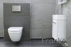 Klein und fein mit besonderm Industrieflair - die neue Betonoptik für Ihr Gäste WC http://www.franke-raumwert.de/TopCollection-Beton-grigio-scuro-40x80-Rett--Beton-Bodenfliesen-Beton154080R.html #Fliesen #Spachteltechnik #Beton #Betonoptik #GästeWC