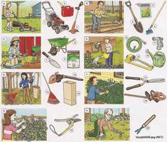 A mow the lawn B plant vegetables C plant flowers D water the flowers E rake leaves F trim the hedge G prune the bushes H weed 1 lawnmower, 2 gas can, 3 line trimmer 4 shovel, 5 vegetable seeds, 6 hoe 7 trowel, 8 wheelbarrow, 9 fertilizer 10 (garden) hose, 11 nozzle, 12 sprinkler 13 watering can, 14 rake, 15 leaf blower 16 yard waste bag 17 (hedge) clippers 18 hedge trimmer 19 pruning shears 20 weeder Hoe Garden Tool, Garden Power Tools, Photo Dictionary, Dictionary For Kids, Vocabulary Pdf, English Vocabulary, Vocabulary Worksheets, English Grammar, Diy Garden