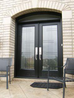 custom wrought iron door glass and transom with a modern feel wwwhomedecorwindowsanddoorscom