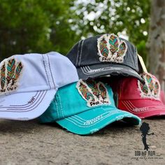 Free Spirit Baseball Caps - 4 Colors Red,Ivory,Charcoal,Turquoise Fun free spirit baseball caps 100% cotton. One Hip Mom women's clothing boutique in Spring Texas.