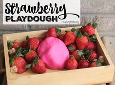 This strawberry playdough is so easy to make and smells just like strawberries!