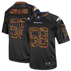 All Size Free Shipping Limited Men s Nike Denver Broncos  58 Von Miller  Camo Fashion Black 2c9e84dce