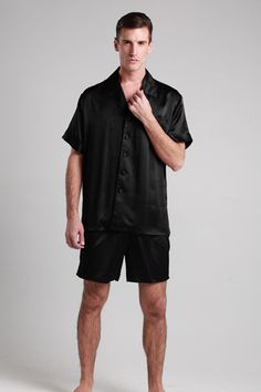 Our 100-percent top quality black silk pajama sets for men are made of 19 momme mulberry silk with left chest welt pocket, fold-back cuffs. $109 #pajamas #silk #lilysilk