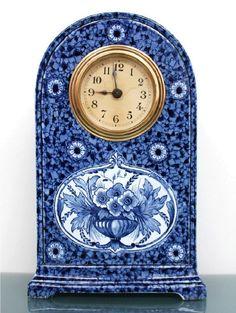 Delft blue ceramic clock netherlands antique shelf mantel dutch