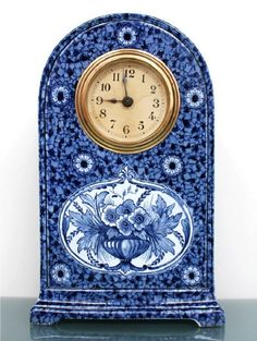 Delft blue ceramic clock netherlands antique shelf mantel dutch