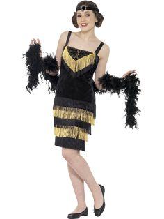 20-luvun flappertyttö. Kaunis naamiaisasu koostuu mekosta ja ajankuvan mukaisesta pääkoristeesta.