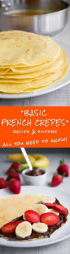 BASIC CREPES RECIPE & HISTORY - all you need to know! - The Basic Crepes recipe is one of the greatest and famous symbols of the French cuisine. On the contrary of some people think, making traditional crepes is quick and easy. I love to fill my crepes ei Crepe Recipes, Brunch Recipes, Breakfast Recipes, Dessert Recipes, Breakfast Ideas, Mexican Breakfast, Pancake Recipes, Waffle Recipes, Yummy Recipes