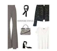 """""""33/365: White T-Shirt For Work"""" by liska-lis ❤ liked on Polyvore featuring Beaufille, H&M, Chanel, Marc Jacobs, Zara and Fendi"""