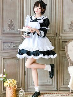 Maid Lolita Outfit Lace Ruffle Bow Lolita One Piece Dress With Apron Lolita Cosplay, Maid Cosplay, Cosplay Girls, Style Lolita, Lolita Mode, Gothic Lolita, Sexy Outfits, Girly Outfits, Classy Outfits