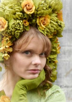 This whimsical floral rose headdress is perfect for spring.  #photoprop #headdress #green #yellowrose