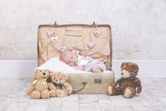 Newborn Photography - Baby in a suitcase with teddies :)