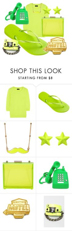 """MOTEL HOTEL"" by havaianas-usa ❤ liked on Polyvore featuring J.Crew, Havaianas, Chicwish, Witchery, Kate Rowland, La Mer, neon, fun, green and motel"