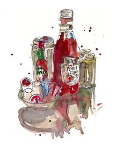 Food Art, Condiments, a study in red and green