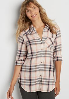 "button down plaid tunic top with button back ""On my wish list #wishpinwinsweepstakes and #discovermaurices"""
