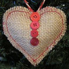 burlap christmas ornaments pictures | Sweet Burlap Heart Ornament | AllFreeChristmasCrafts.com