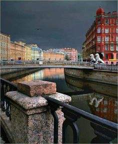 Lion's Bridge in St. Petersburg RUSSIA