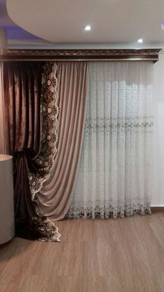 Tab Curtains, Shabby Chic Curtains, Beautiful Curtains, Curtain Designs, Large Windows, Stores, Bed Design, Curtain Rods, Decoration