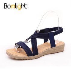Bomlight Summer Women Shoes Gladiator Sandals Women Elastic Band Wedges  Shoes For Female Zapatos Mujer Verano a60b17870114