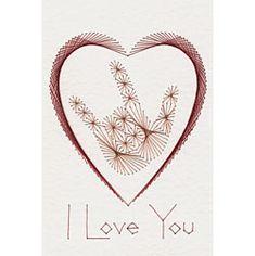 I Love You Prick and Stitch Card Pattern