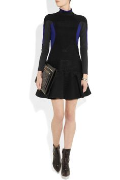 Stella McCartneyMillie woven and stretch wool-blend crepe dress, Stella McCartney boots and clutch.
