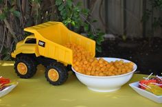 Construction birthday party... Food served in dump truck.