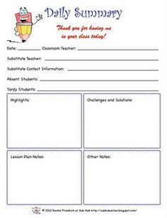 Freebie While You Were Out A Substitute Feedback Form  EduMa