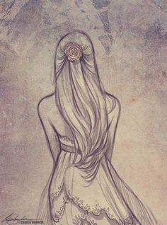 art, artist, artwork, back, beautiful, drawing, dress, girl, hair, pencil, pink fashion, sketch, First Set on Favim.com