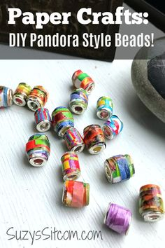 Paper Crafts: Create beautiful DIY pandora style jewelry beads with paper! Use colored card stock, old magazines, or even junk mail to fashion colorful beads. A perfect project for a rainy day. Paper Beads Tutorial, Make Paper Beads, Paper Bead Jewelry, Beaded Jewelry, Jewellery, Diy Crafts Jewelry, Bead Crafts, Handmade Crafts, Paper Crafts