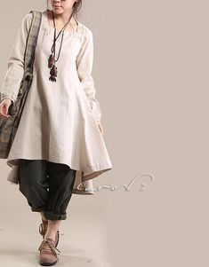 Spring Autumn Dress Woman Dress Plus Size Dresses Cotton High Low Dress Beige Size Plus Size Dress Custom Made 1X, 2X, 3X   USD65