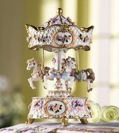 Victorian Merry-Go-Round Musical Carousel